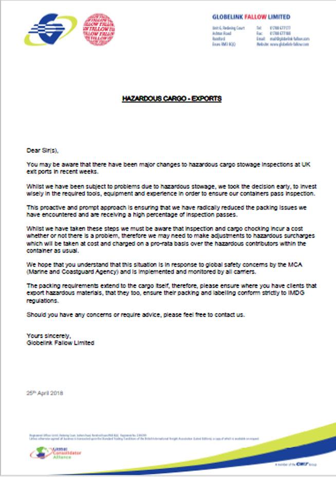 Hazardous Cargo MCA Notice