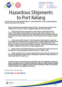 Hazardous Shipments to Port Kelang